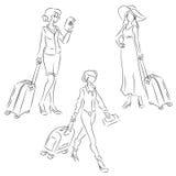 Γυναίκα με τη βαλίτσα Στοκ φωτογραφίες με δικαίωμα ελεύθερης χρήσης