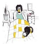 Γυναίκα με τη γάτα στο κρεβάτι Διανυσματική συρμένη χέρι απεικόνιση διανυσματική απεικόνιση