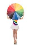 Γυναίκα με τη ζωηρόχρωμη ομπρέλα στο λευκό στοκ εικόνα