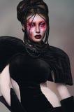 Γυναίκα με τη δημιουργική κόκκινη σύνθεση στοκ εικόνα