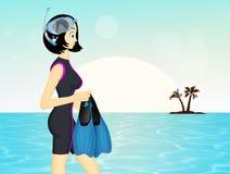 Γυναίκα με τη μάσκα και τα πτερύγια διανυσματική απεικόνιση