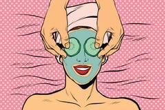 Γυναίκα με τη μάσκα ομορφιάς φρούτων διανυσματική απεικόνιση