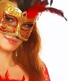Γυναίκα με τη μάσκα στοκ εικόνα με δικαίωμα ελεύθερης χρήσης