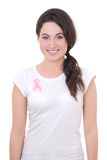 Γυναίκα με τη ρόδινη κορδέλλα καρκίνου στο στήθος Στοκ Φωτογραφία