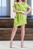 Γυναίκα με τη σγουρή τρίχα σε ένα φόρεμα Στοκ εικόνες με δικαίωμα ελεύθερης χρήσης