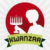 Γυναίκα με τη σκιαγραφία Kinara στο εικονίδιο Kwanzaa, διανυσματική απεικόνιση Στοκ Εικόνες