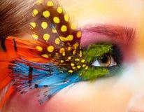 Γυναίκα με τη σύνθεση φτερών μόδας eyelashes στοκ φωτογραφία