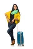 Γυναίκα με τις βαλίτσες στο λευκό Στοκ φωτογραφία με δικαίωμα ελεύθερης χρήσης