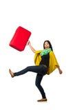 Γυναίκα με τις βαλίτσες στο λευκό Στοκ Φωτογραφίες