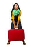 Γυναίκα με τις βαλίτσες στο λευκό Στοκ εικόνες με δικαίωμα ελεύθερης χρήσης