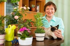 Γυναίκα με τις εγκαταστάσεις γατών και λουλουδιών Στοκ Εικόνα