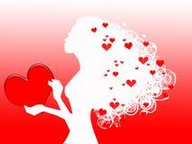 Γυναίκα με τις κόκκινες καρδιές διανυσματική απεικόνιση