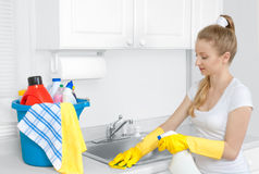 Γυναίκα με τον κάδο του καθαρισμού των προμηθειών Στοκ φωτογραφίες με δικαίωμα ελεύθερης χρήσης