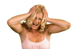 Γυναίκα με τον πονοκέφαλο Στοκ εικόνα με δικαίωμα ελεύθερης χρήσης