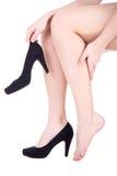 Γυναίκα με τον πόνο αστραγάλων ή κάλος που απομονώνεται στο λευκό στοκ εικόνα με δικαίωμα ελεύθερης χρήσης