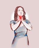 Γυναίκα με τους επώδυνους ψεκασμούς λαιμού και αντιφλεγμονώδης Στοκ φωτογραφία με δικαίωμα ελεύθερης χρήσης