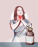 Γυναίκα με τους επώδυνους ψεκασμούς λαιμού και αντιφλεγμονώδης Στοκ εικόνα με δικαίωμα ελεύθερης χρήσης