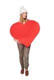 Γυναίκα με το έμβλημα καρδιών Στοκ Φωτογραφία