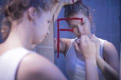 Γυναίκα με το διανοητικό πρόβλημα Στοκ Φωτογραφίες