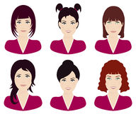 Γυναίκα με το διαφορετικά χρώμα και hairstyles το διάνυσμα τρίχας Στοκ Εικόνες
