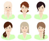 Γυναίκα με το διαφορετικό χρώμα τρίχας και hairstyles Στοκ εικόνες με δικαίωμα ελεύθερης χρήσης
