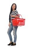 Γυναίκα με το κάρρο αγορών στο λευκό στοκ φωτογραφία με δικαίωμα ελεύθερης χρήσης