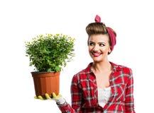 Γυναίκα με το καρφίτσα-επάνω hairstyle δοχείο λουλουδιών εκμετάλλευσης με το κίτρινο daisi Στοκ εικόνες με δικαίωμα ελεύθερης χρήσης