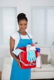 Γυναίκα με το καλάθι και τον καθαρίζοντας εξοπλισμό Στοκ Φωτογραφίες