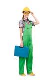 Γυναίκα με το κουτί εργαλείων που απομονώνεται Στοκ εικόνες με δικαίωμα ελεύθερης χρήσης