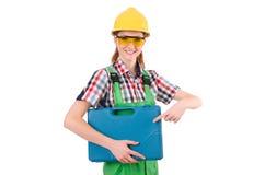 Γυναίκα με το κουτί εργαλείων που απομονώνεται Στοκ Φωτογραφίες