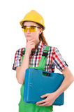 Γυναίκα με το κουτί εργαλείων Στοκ φωτογραφία με δικαίωμα ελεύθερης χρήσης