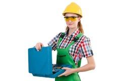 Γυναίκα με το κουτί εργαλείων Στοκ φωτογραφίες με δικαίωμα ελεύθερης χρήσης