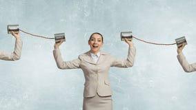 Γυναίκα με το κωφό τηλέφωνο στοκ εικόνα με δικαίωμα ελεύθερης χρήσης