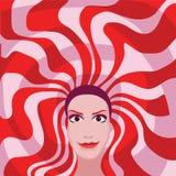 Γυναίκα με το κόκκινο και άσπρο χρώμα τρίχας Στοκ Εικόνες