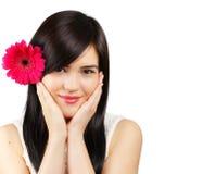 Γυναίκα με το λουλούδι Στοκ Φωτογραφία