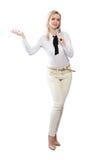 Γυναίκα με το μικρόφωνο στοκ εικόνες
