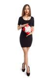 Γυναίκα με το μικρό παρόν κιβώτιο στοκ εικόνα με δικαίωμα ελεύθερης χρήσης