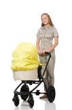 Γυναίκα με το μωρό και καροτσάκι που απομονώνεται στο λευκό Στοκ Φωτογραφία