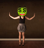 Γυναίκα με το πρόσωπο smiley σημαδιών δολαρίων Στοκ Εικόνες
