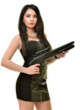 Γυναίκα με το πυροβόλο όπλο Στοκ εικόνα με δικαίωμα ελεύθερης χρήσης