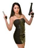 Γυναίκα με το πυροβόλο όπλο στοκ εικόνα