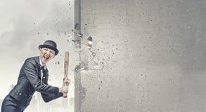Γυναίκα με το ρόπαλο του μπέιζμπολ Στοκ Φωτογραφίες