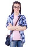 Γυναίκα με το σακίδιο πλάτης που απομονώνεται Στοκ Φωτογραφίες