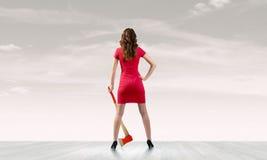 Γυναίκα με το τσεκούρι Στοκ εικόνες με δικαίωμα ελεύθερης χρήσης