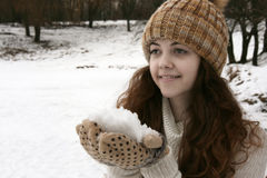 Γυναίκα με το χιόνι Στοκ Εικόνες
