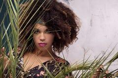 Γυναίκα με το afro hairstyle και τη γοητεία makeup στοκ φωτογραφίες με δικαίωμα ελεύθερης χρήσης