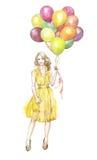 Γυναίκα με ballons Στοκ εικόνα με δικαίωμα ελεύθερης χρήσης