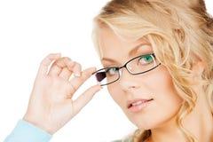 Γυναίκα με eyeglasses Στοκ Φωτογραφία