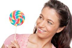 Γυναίκα με sucker Στοκ εικόνα με δικαίωμα ελεύθερης χρήσης