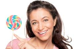 Γυναίκα με sucker Στοκ εικόνες με δικαίωμα ελεύθερης χρήσης